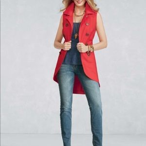 CAbi Poppy Red Double Breasted Long Vest